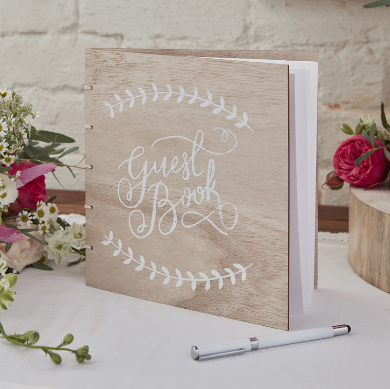 Buy Boho - Wooden Guest Book Ginger Ray