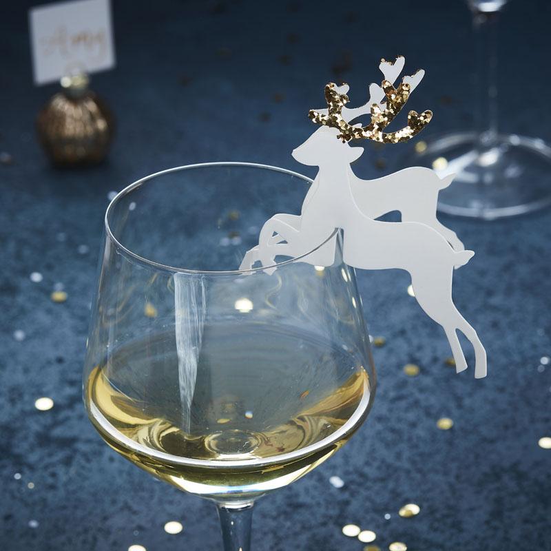 Buy Gold Christmas Glass Decoration Reindeer Gold Glitter