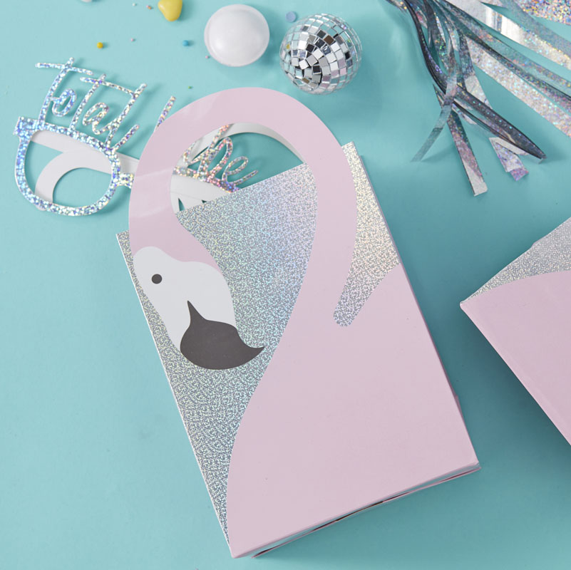 Good Vibes by Ginger Ray Flamingo Shaped Handle Pink Holographic Party Bags